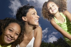 Mother and daughters happy